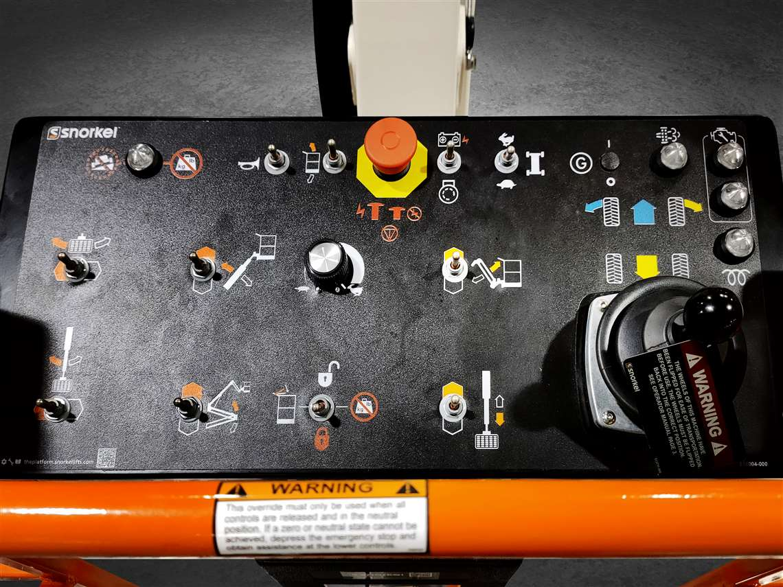 Control panel of the Snorkel A62JRT Articulated Boom Lift