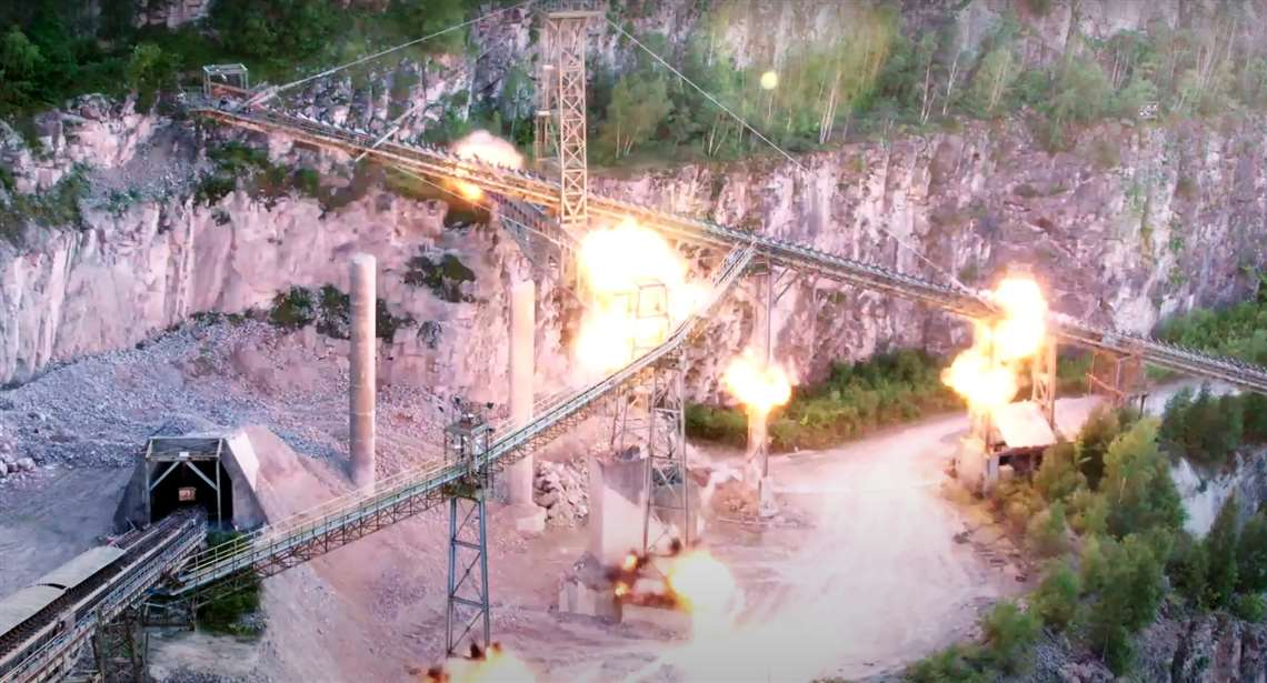 AR Demolition Exploding a conveyor belt at Croft Quarry, UK