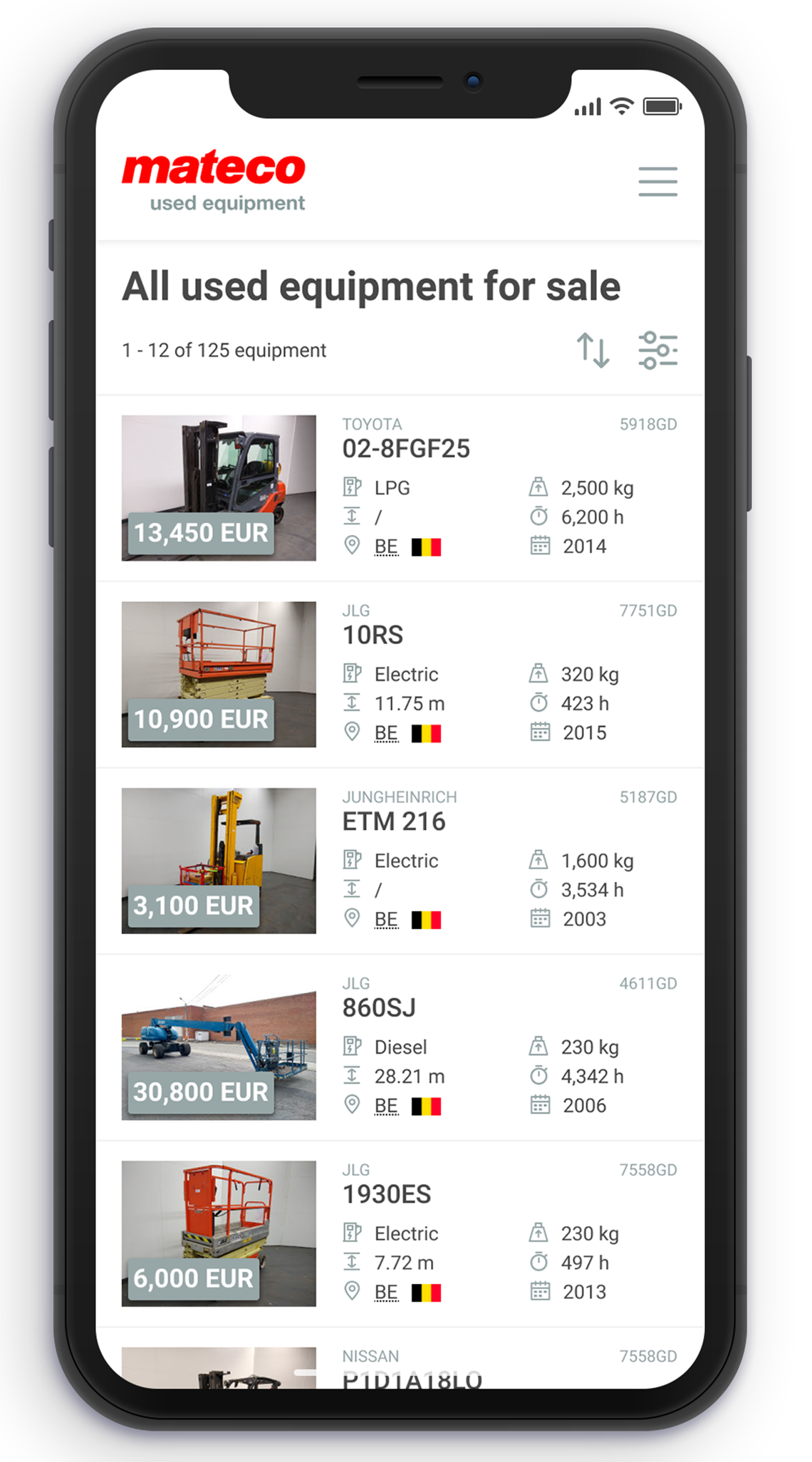 Mateco used equipment smart phone app