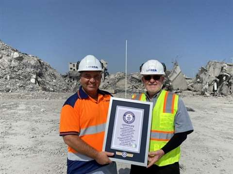 The Safedem team receives its Guinness World record award